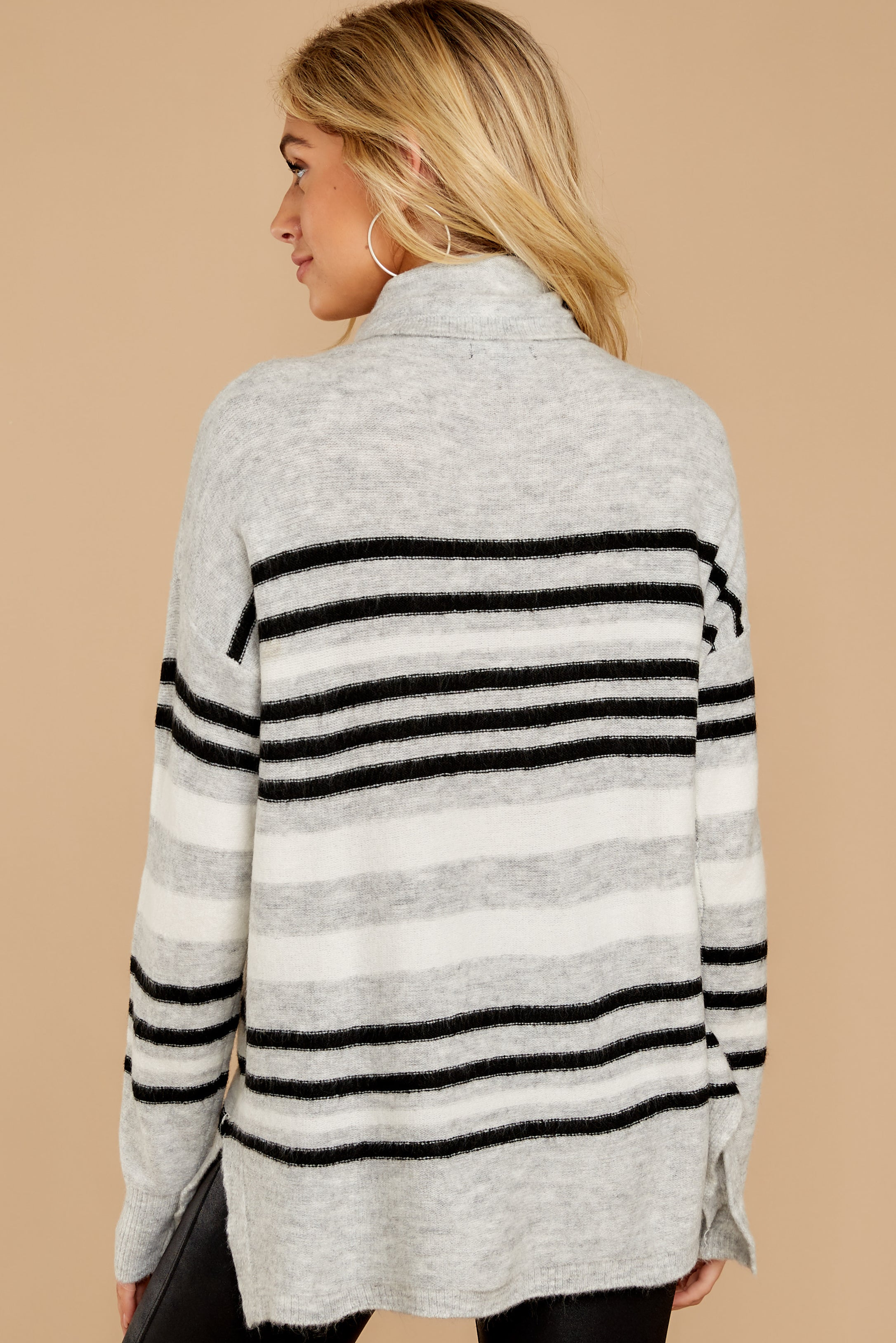 8 Soothing Sounds Light Grey Multi Stripe Sweater at reddressboutique.com