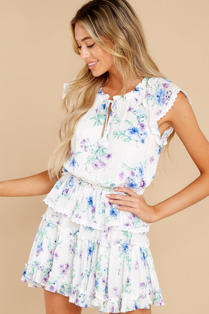 7 Spring In Your Step White Floral Print Dress at reddress.com