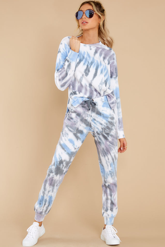 1 On Your Mind Slate Blue Tie Dye Top at reddress.com