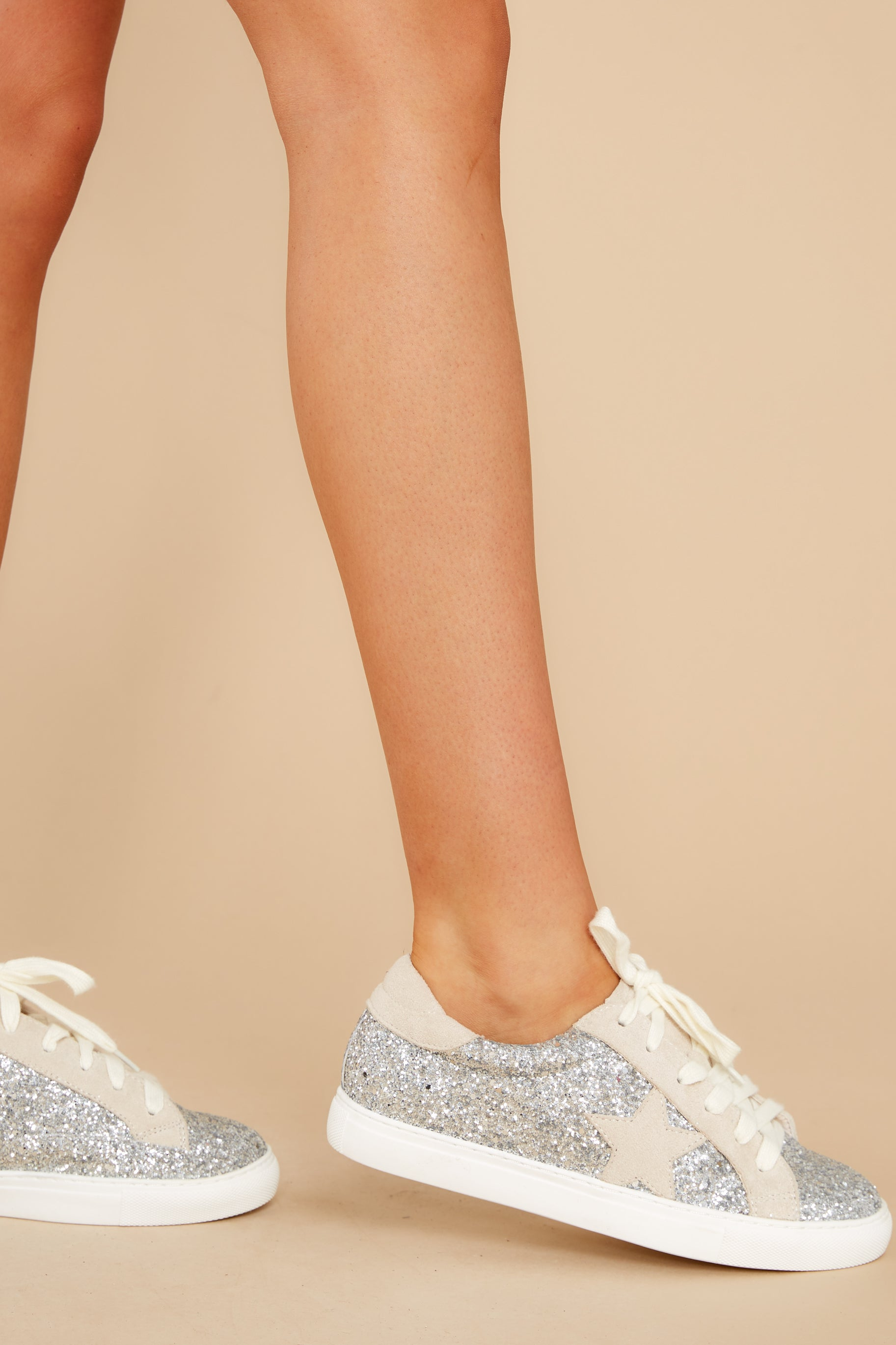1 Getting Better Silver Glitter Sneakers at reddress.com