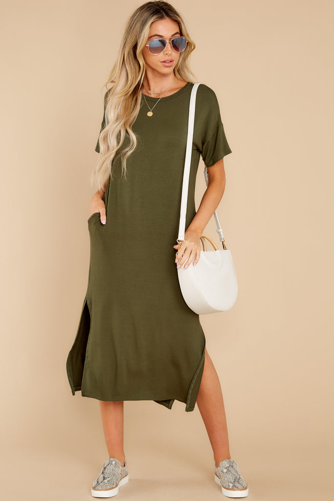 1 In Full Swing Olive Green Midi Dress at reddress.com