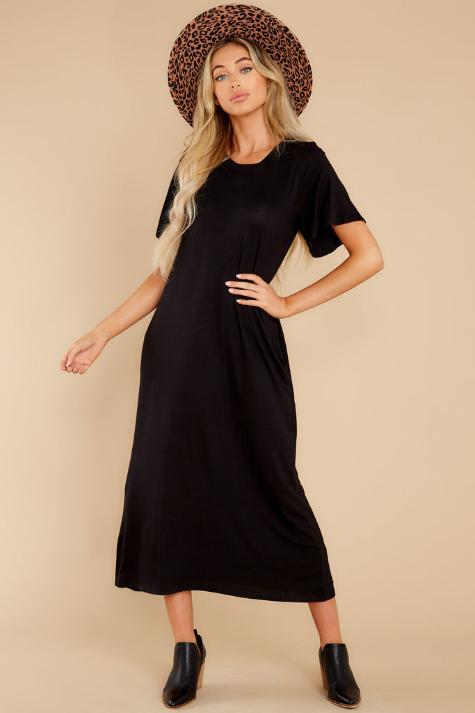1 Come Away With Me Black Midi Dress at reddress.com
