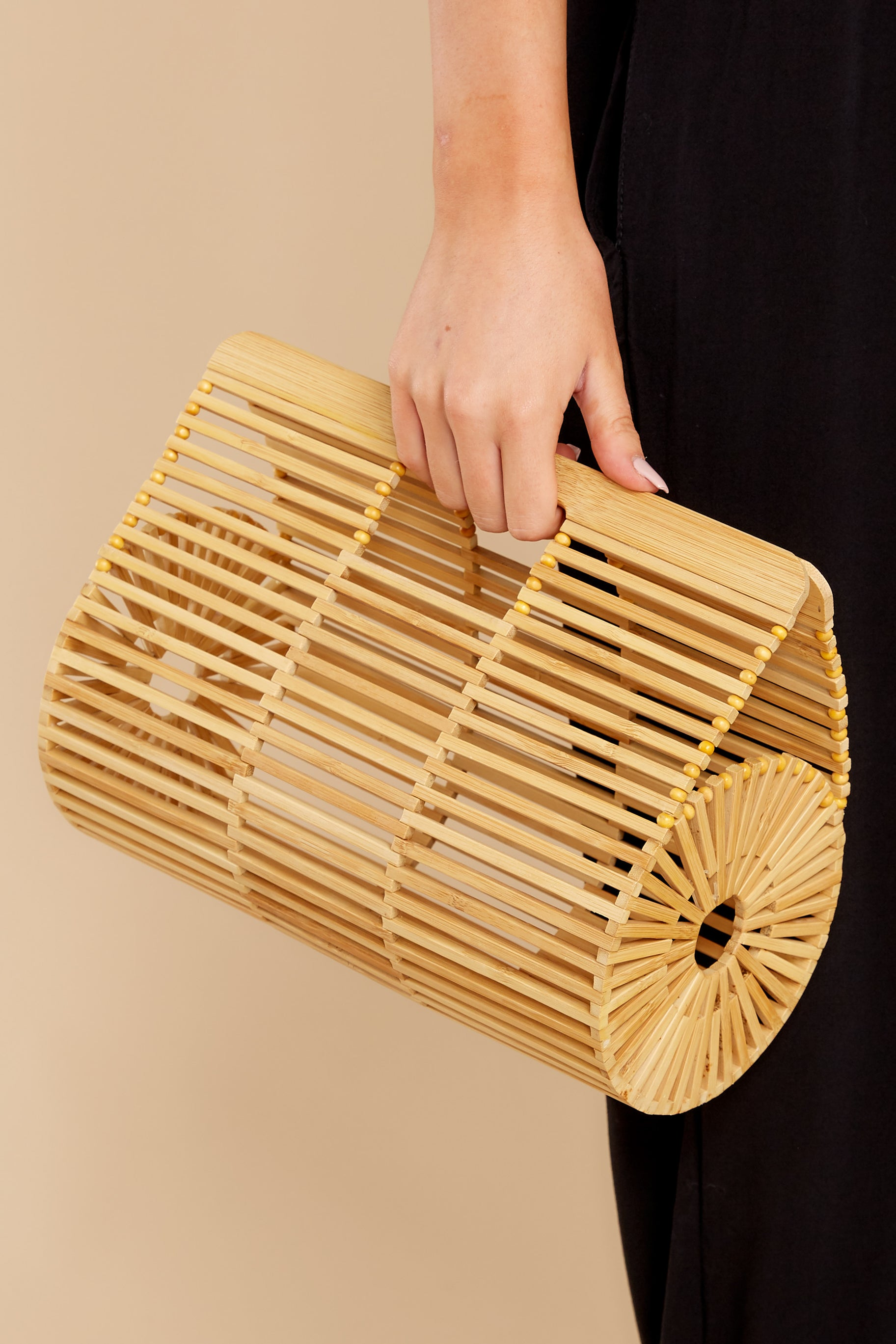 7 Going All Over Round Bamboo Bag at reddress.com