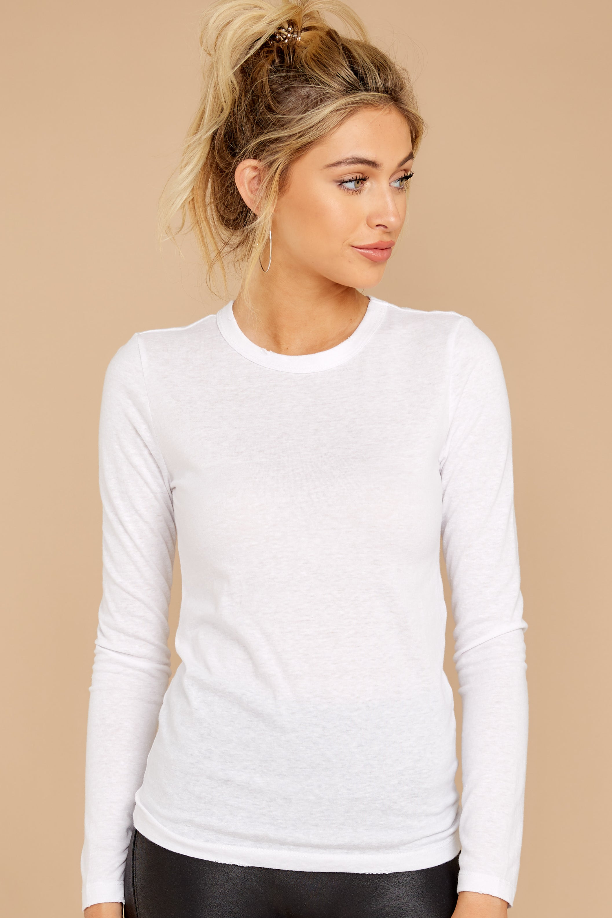 4 The White Triblend Long Sleeve Crew Tee at reddress.com