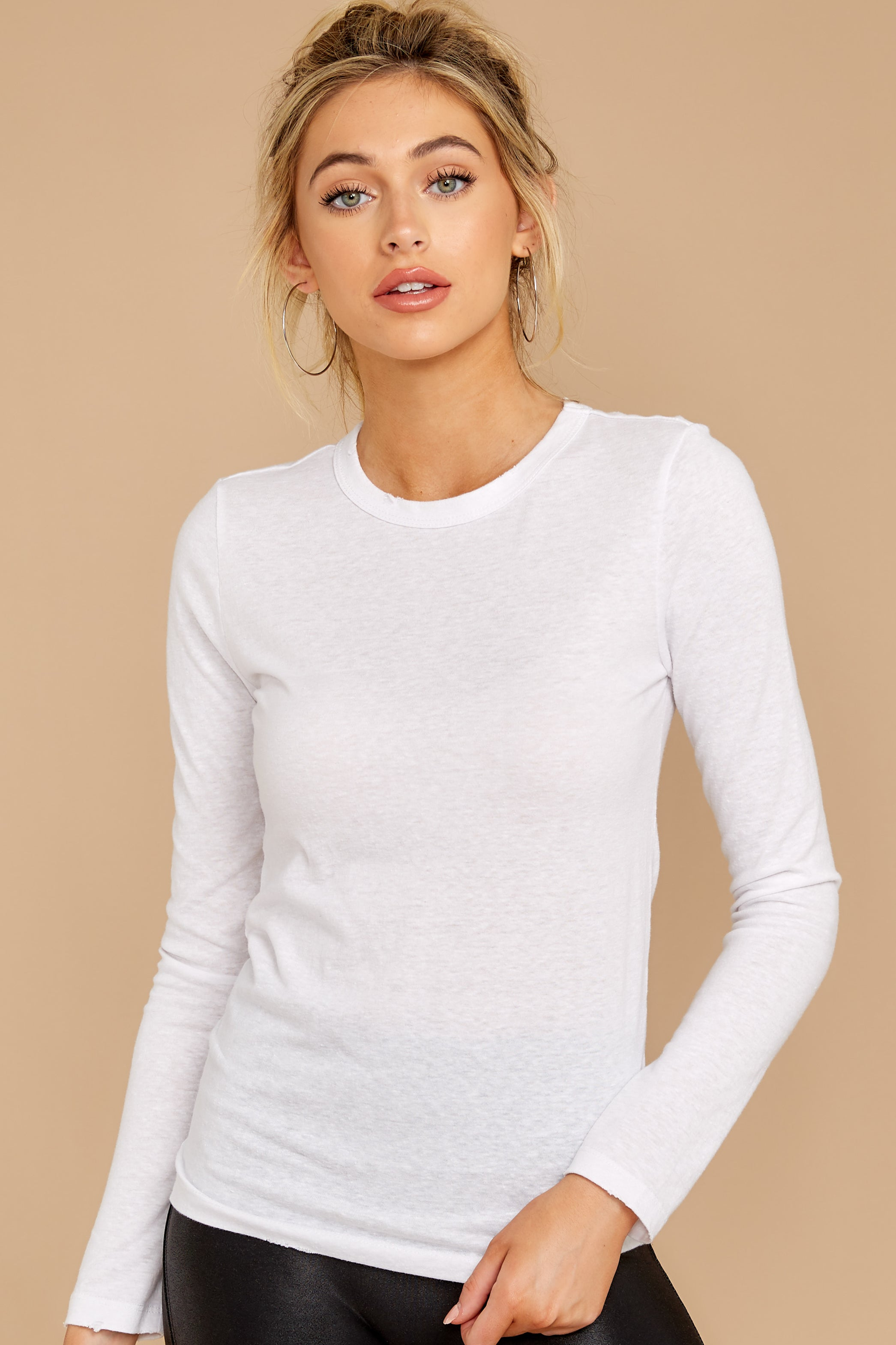 5 The White Triblend Long Sleeve Crew Tee at reddress.com