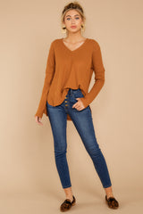 1 Resounding Success Caramel Waffle Knit Top at reddressboutique.com