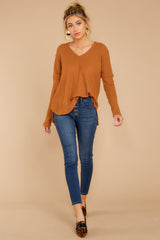 2 Resounding Success Caramel Waffle Knit Top at reddressboutique.com