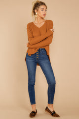 3 Resounding Success Caramel Waffle Knit Top at reddressboutique.com