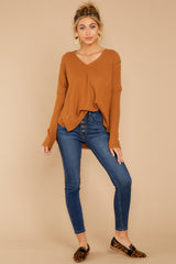 4 Resounding Success Caramel Waffle Knit Top at reddressboutique.com