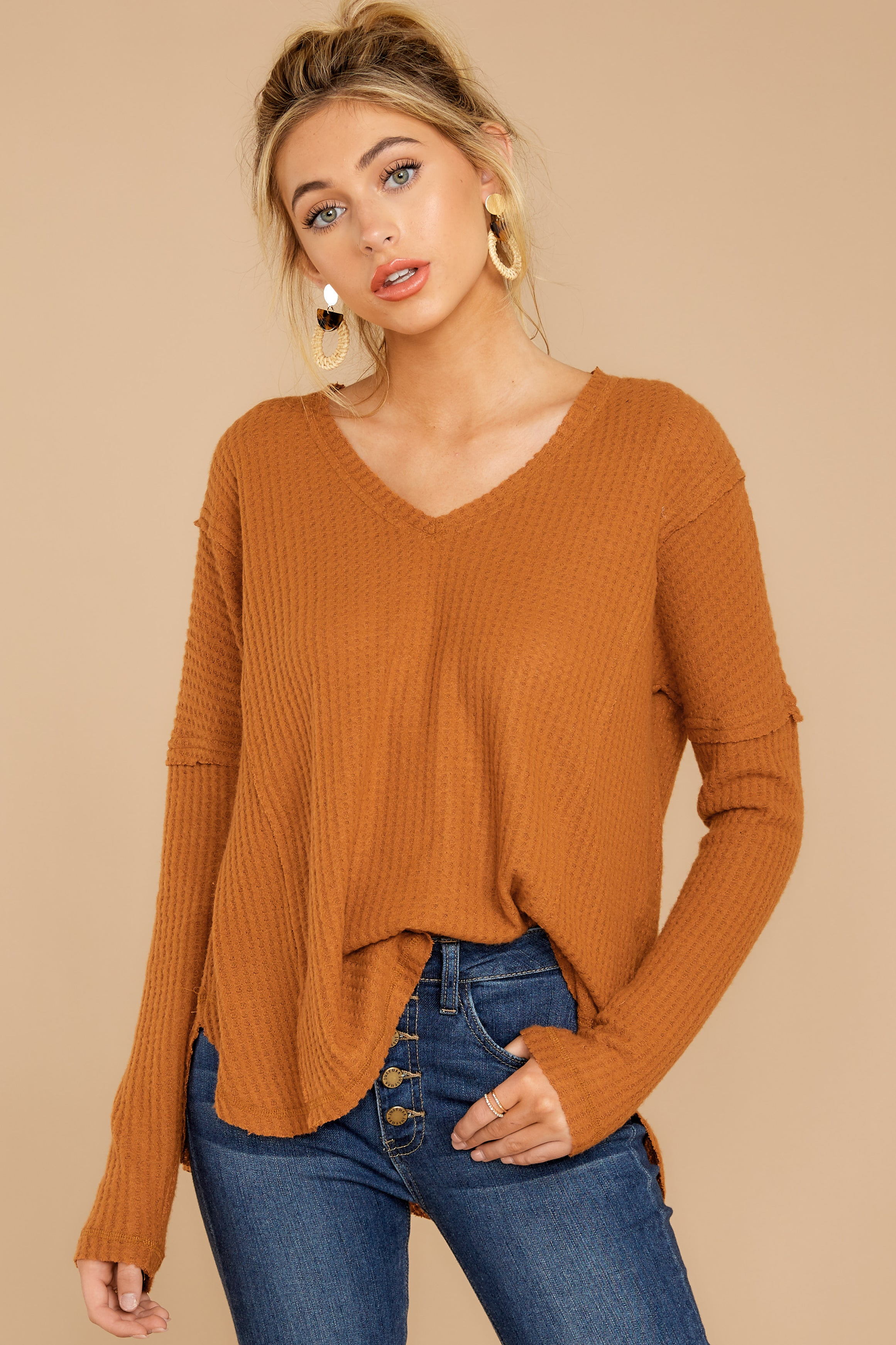 5 Resounding Success Caramel Waffle Knit Top at reddressboutique.com