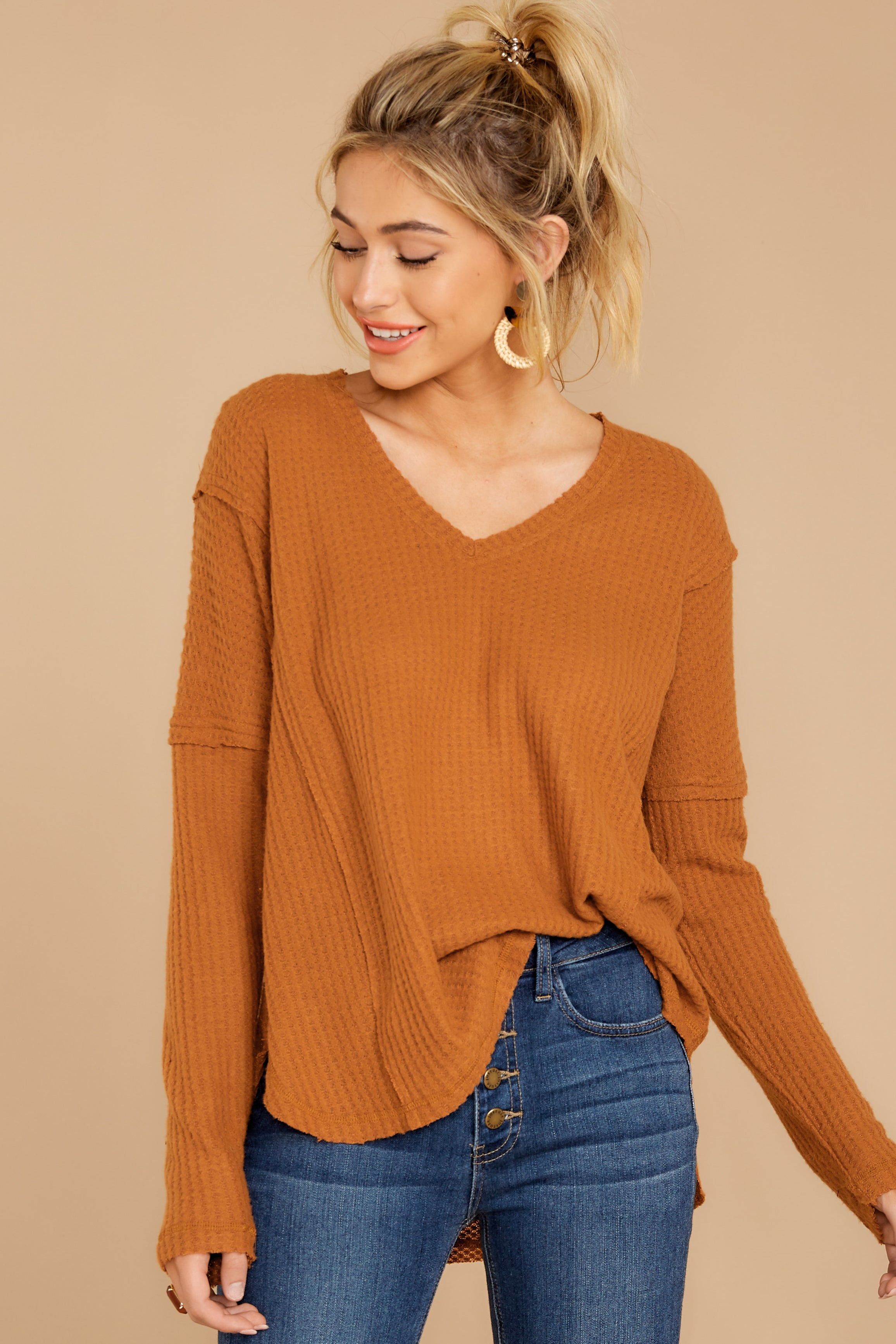 6 Resounding Success Caramel Waffle Knit Top at reddressboutique.com