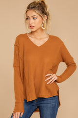 7 Resounding Success Caramel Waffle Knit Top at reddressboutique.com