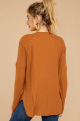 8 Resounding Success Caramel Waffle Knit Top at reddressboutique.com