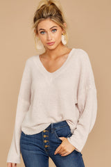 4 Daytime Debut Beige Waffle Knit Top at reddressboutique.com