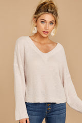 7 Daytime Debut Beige Waffle Knit Top at reddressboutique.com