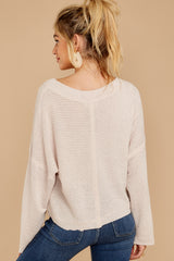 8 Daytime Debut Beige Waffle Knit Top at reddressboutique.com