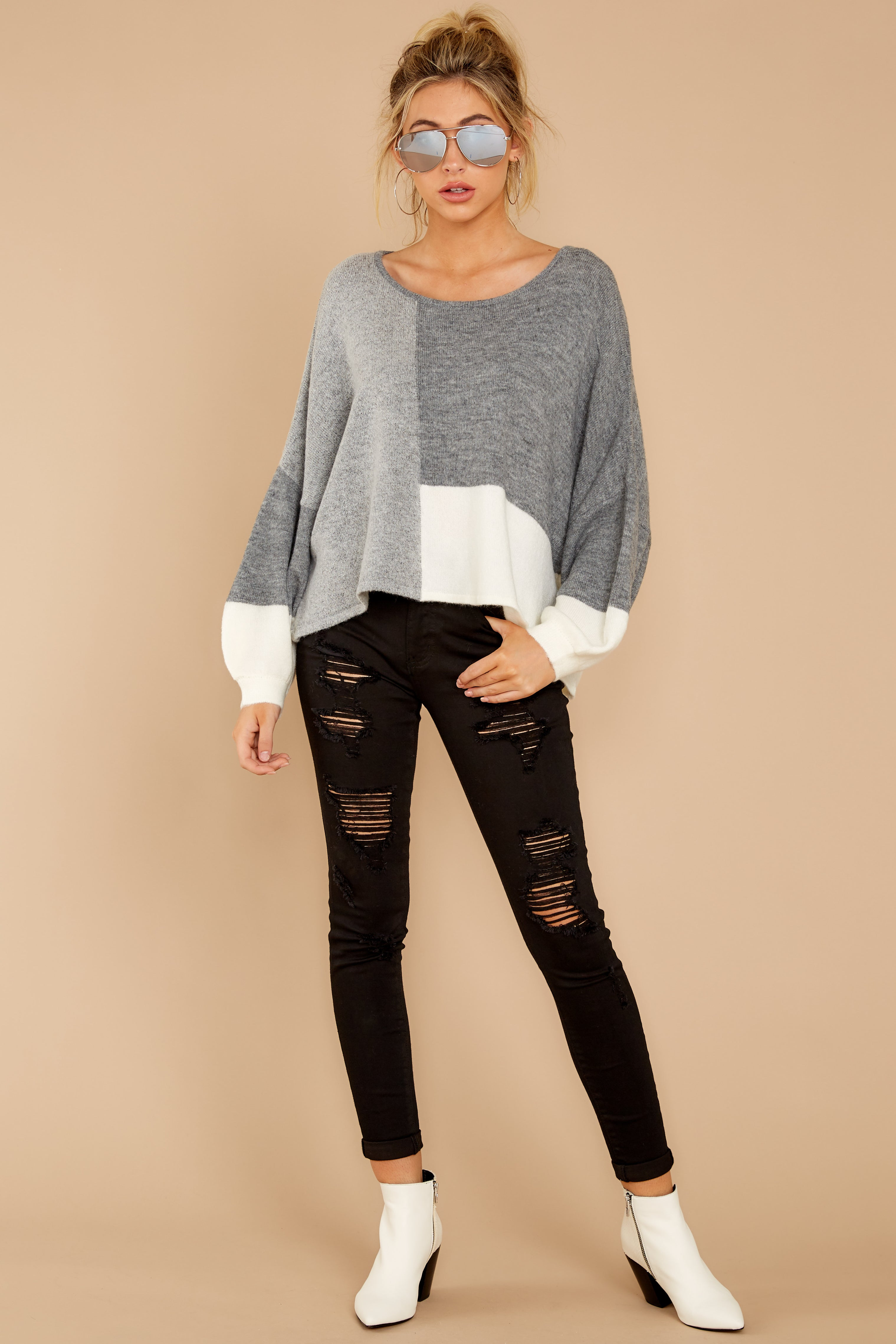 1 Call The Girls Grey Color Block Sweater at reddressboutique.com