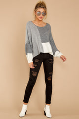 2 Call The Girls Grey Color Block Sweater at reddressboutique.com