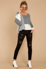 3 Call The Girls Grey Color Block Sweater at reddressboutique.com