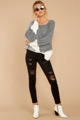 4 Call The Girls Grey Color Block Sweater at reddressboutique.com