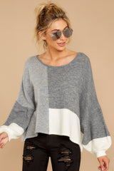 5 Call The Girls Grey Color Block Sweater at reddressboutique.com