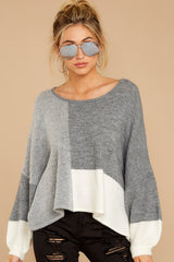 6 Call The Girls Grey Color Block Sweater at reddressboutique.com