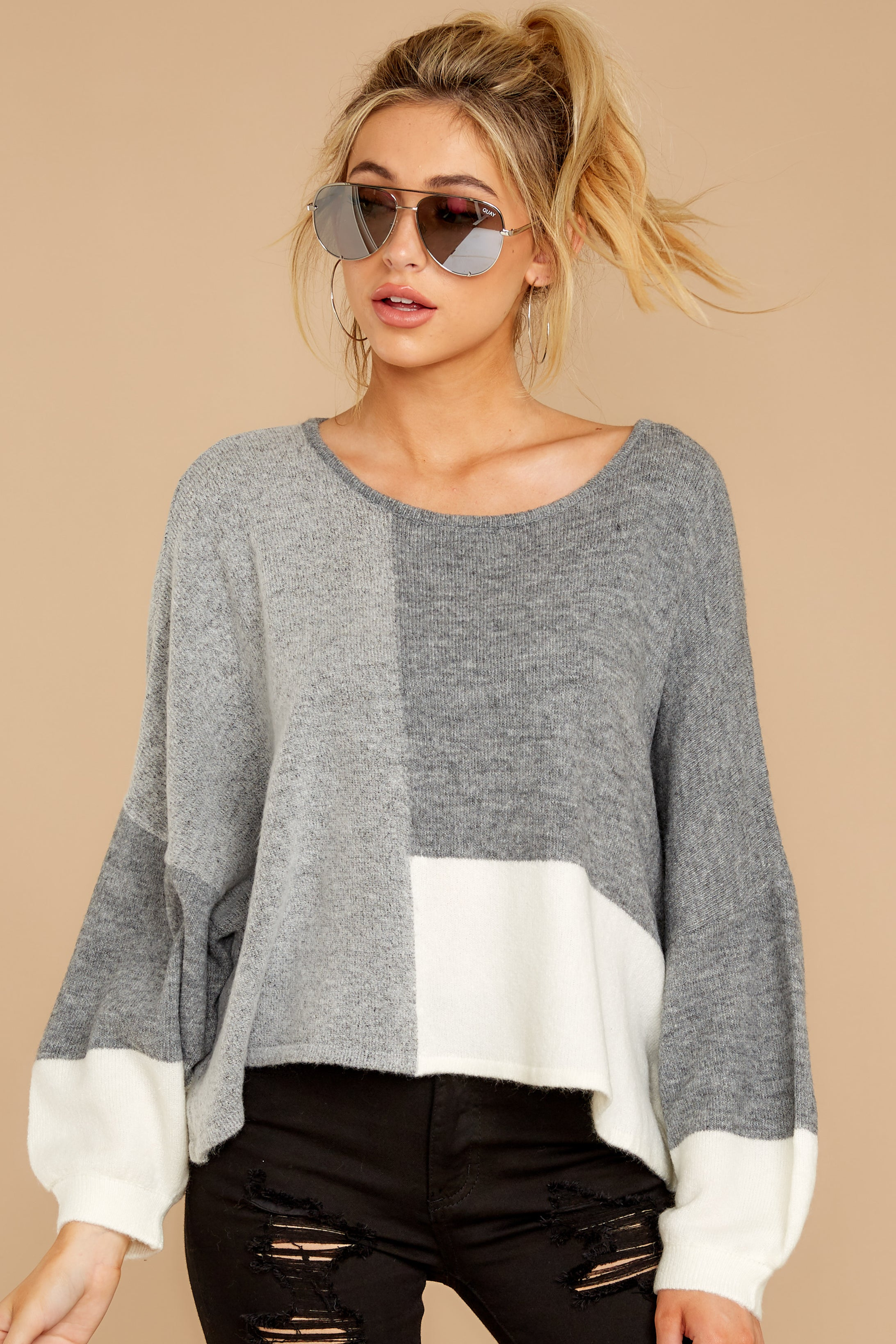 7 Call The Girls Grey Color Block Sweater at reddressboutique.com