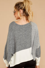 8 Call The Girls Grey Color Block Sweater at reddressboutique.com