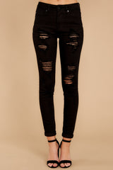 2 Told You Black Distressed Skinny Jeans at reddressboutique.com