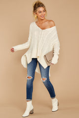 2 Me Myself And I Cream Sweater at reddressboutique.com