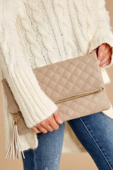 8 Living Fashionably Taupe Clutch at reddressboutique.com