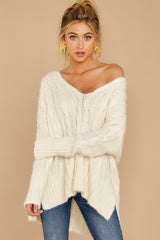 3 Me Myself And I Cream Sweater at reddressboutique.com