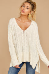 5 Me Myself And I Cream Sweater at reddressboutique.com