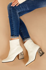 5 Vidal White Booties at reddressboutique.com