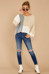 3 Call The Girls Beige Color Block Sweater at reddressboutique.com