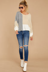 1 Call The Girls Beige Color Block Sweater at reddressboutique.com