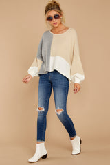 Call The Girls Beige Color Block Sweater