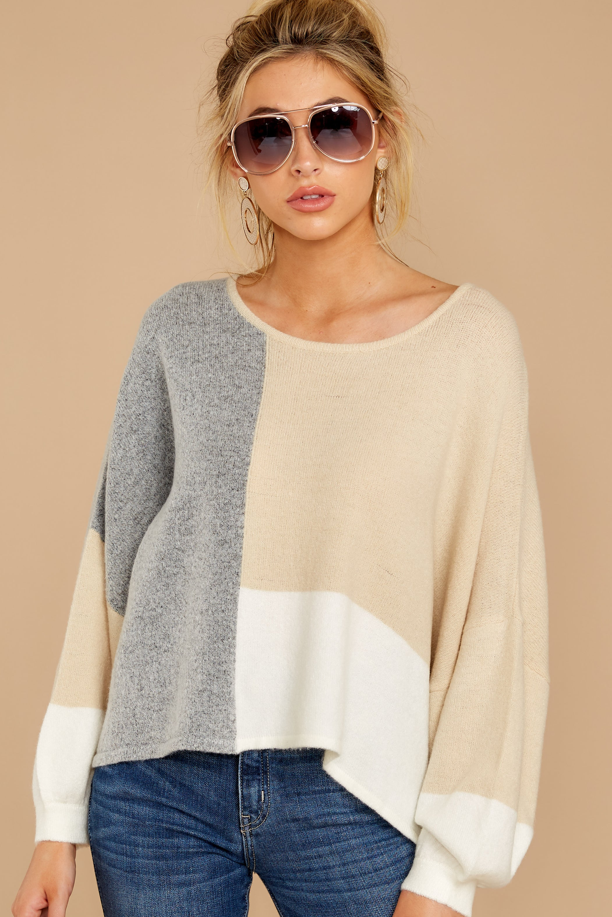 4 Call The Girls Beige Color Block Sweater at reddressboutique.com