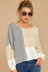 5 Call The Girls Beige Color Block Sweater at reddressboutique.com