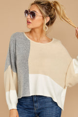 7 Call The Girls Beige Color Block Sweater at reddressboutique.com