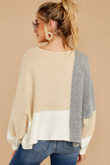 8 Call The Girls Beige Color Block Sweater at reddressboutique.com