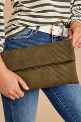 6 Professional Positivity Olive Clutch at reddressboutique.com