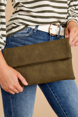 5 Professional Positivity Olive Clutch at reddressboutique.com