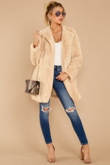 4 Just What You Think Beige Faux Fur Coat at reddressboutique.com