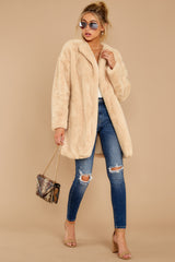 3 Just What You Think Beige Faux Fur Coat at reddressboutique.com