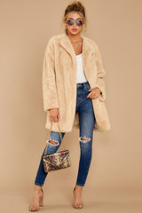 1 Just What You Think Beige Faux Fur Coat at reddressboutique.com