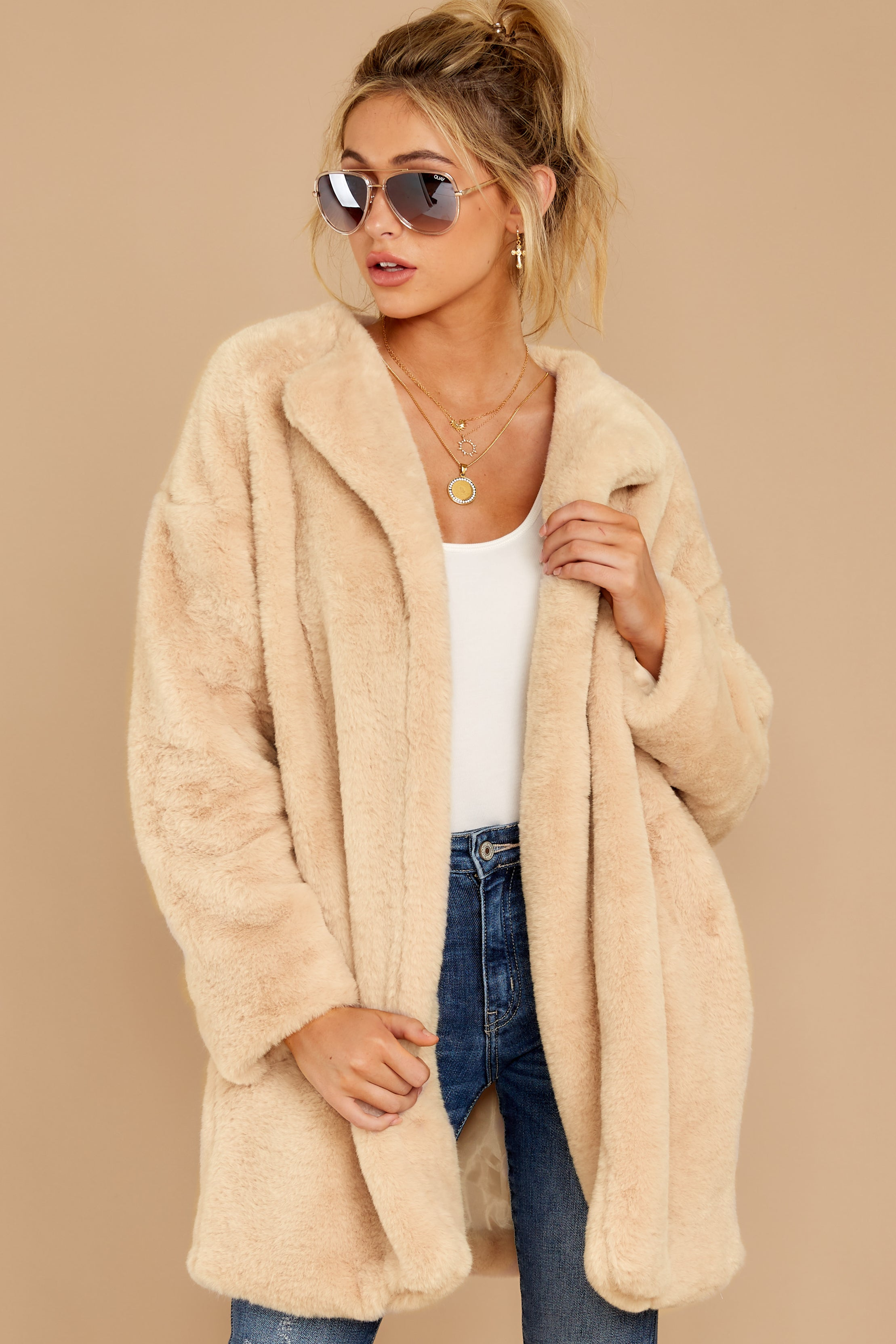 6 Just What You Think Beige Faux Fur Coat at reddressboutique.com