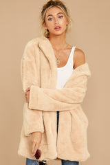 8 Just What You Think Beige Faux Fur Coat at reddressboutique.com