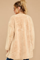 9 Just What You Think Beige Faux Fur Coat at reddressboutique.com
