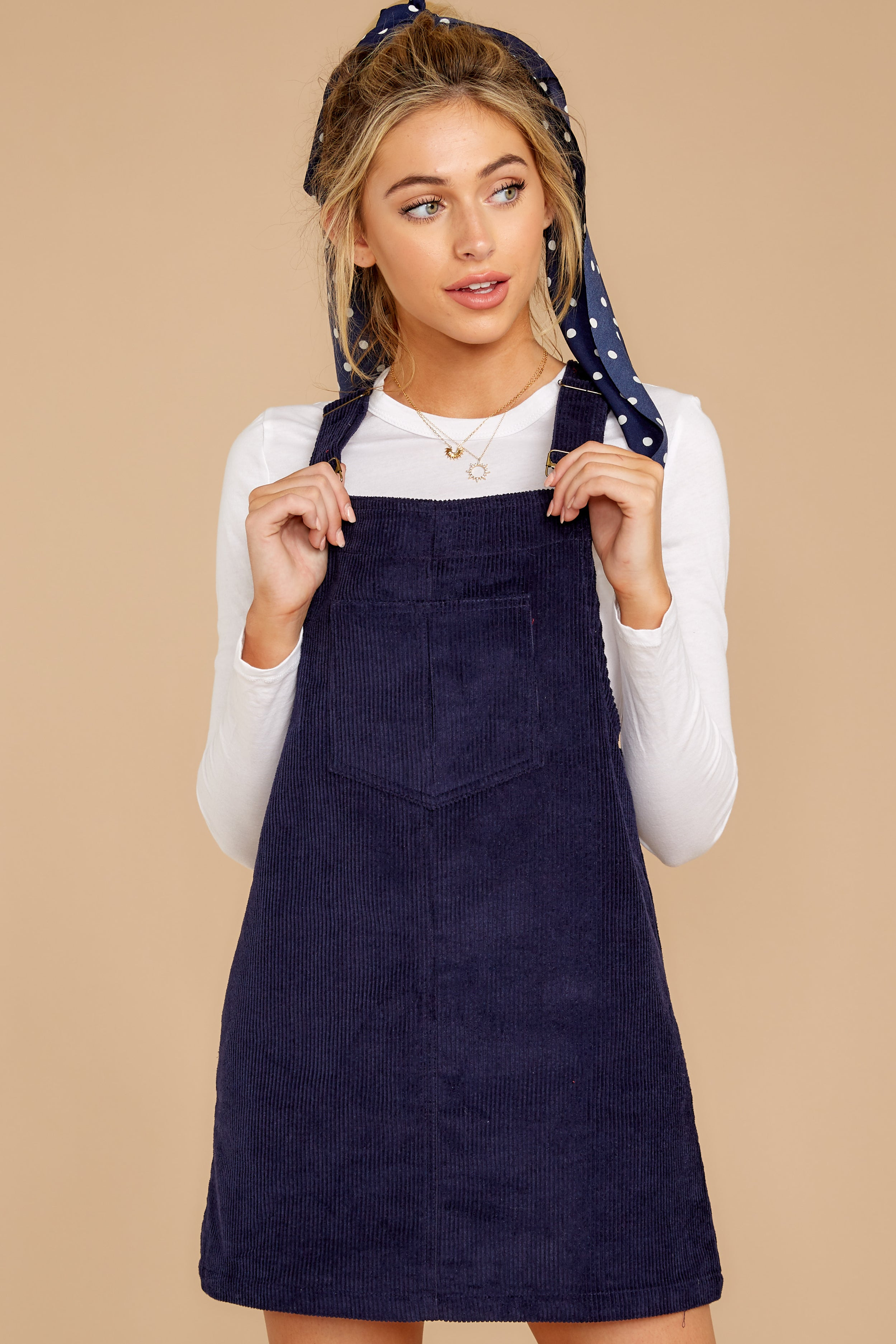 5 Collegiate Cutie Navy Corduroy Jumper at reddressboutique.com